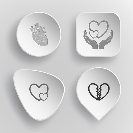 unrequited love: 4 images: heart, love in hands, careful heart, unrequited love. Heart shape set. White concave buttons on gray background. Vector icons.