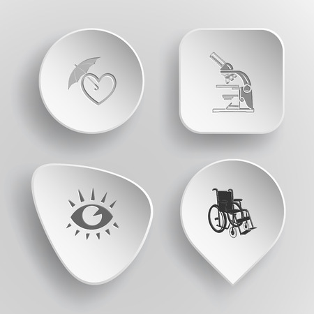 love icon: 4 images: protection love, lab microscope, eye, invalid chair. Medical set. White concave buttons on gray background. Vector icons.