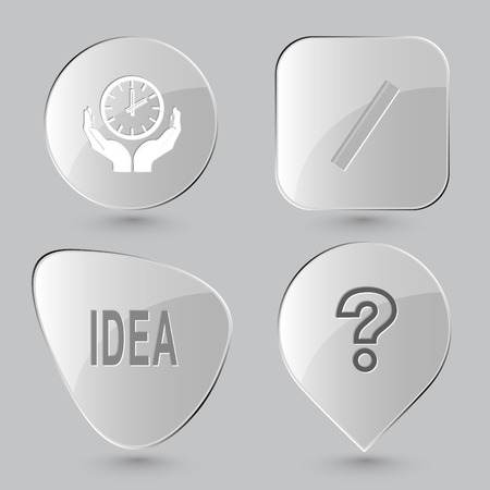 query: clock in hands, ruler, idea, query sign. Education set. Glass buttons on gray background. Vector icons. Illustration