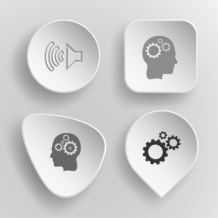 incurved: 4 images: loudspeaker, human brain, gears. Tehnology set. White concave buttons on gray background. Vector icons.