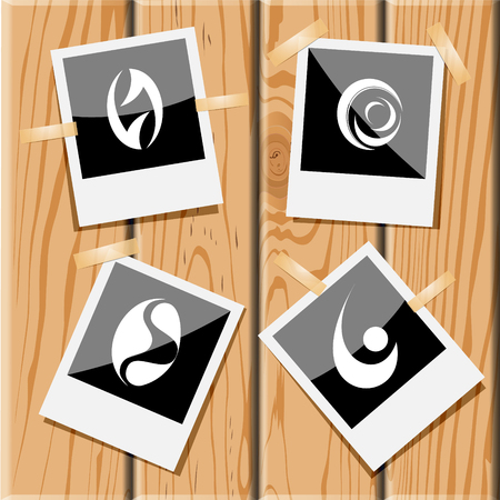 uniqueness: 4 images of unique abstract forms. Photo frames on wooden desk. Vector icons set. Illustration