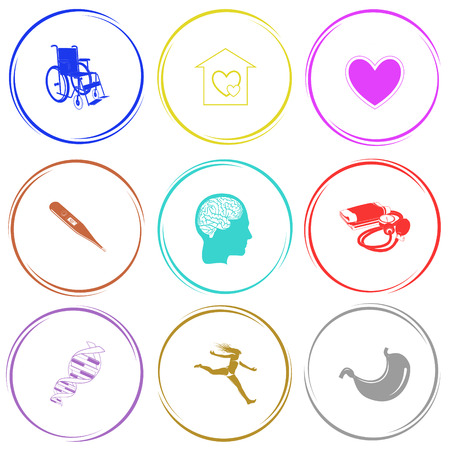 orphanage: invalid chair, orphanage, heart, thermometer, human brain, blood pressure, dna, jumping girl, stomach. Medical set. Internet button. Vector icons.