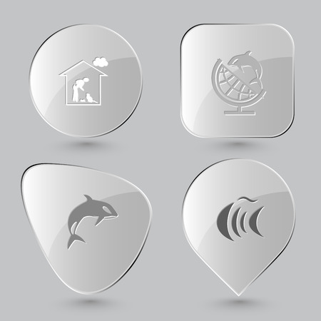 killer waves: home cat, globe and shamoo, killer whale, fish. Animal set. Glass buttons on gray background. Vector icons.