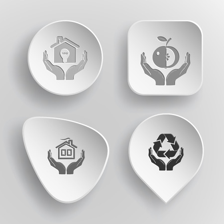 concave: 4 images: economy in hands, apple in hands, home in hands, protection nature. In hands set. White concave buttons on gray background. Vector icons. Illustration