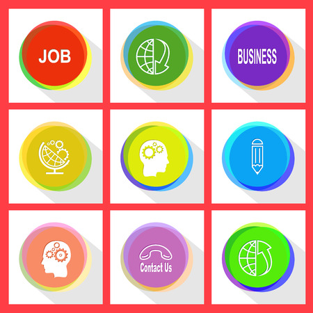array: job, globe and array down, business, globe and gears, human brain, pencil, contact us, globe and array up. Business set. Internet template. Vector icons.