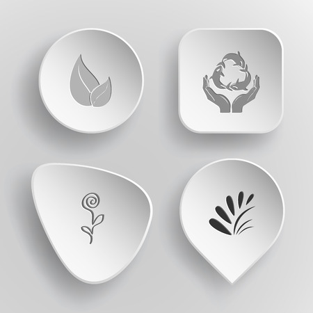 concave: 4 images: leaf, protection sea life, flower, plant. Nature set. White concave buttons on gray background. Vector icons.