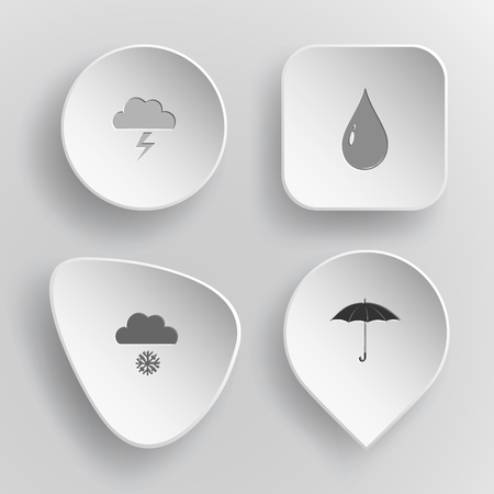 incurved: 4 images: thunderstorm, drop, snowfall, umbrella. Weather set. White concave buttons on gray background. Vector icons.