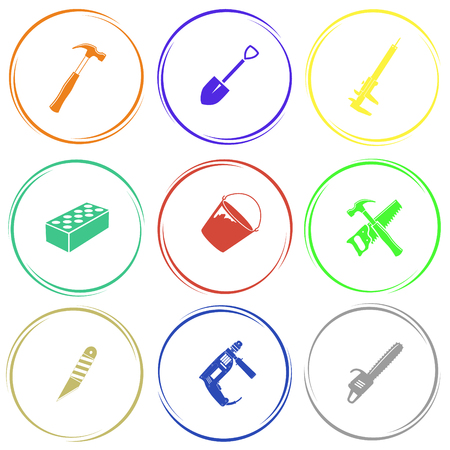 bucket and spade: hammer, spade, caliper, hollow brick, bucket, hand saw and hammer, knife, electric drill, gasoline-powered saw. Industrial tools set. Internet button. Vector icons. Illustration