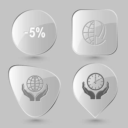 array: -5%, globe and array down, protection world, clock in hands. Business set. Glass buttons on gray background. Vector icons. Illustration