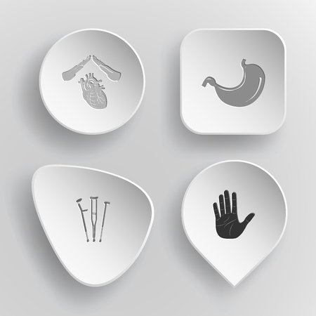 concave: 4 images: heart protect, stomach, crutches, stop hand. Medical set. White concave buttons on gray background. Vector icons.