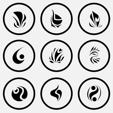 uniqueness: 9 images of unique abstract forms. Black and white set vector icons.