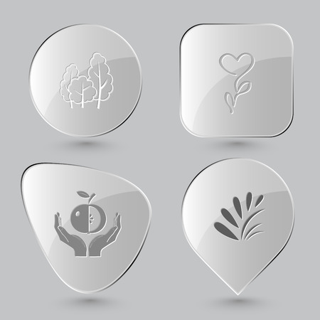 hands plant: trees, flower, apple in hands, plant. Nature set. Glass buttons on gray background. Vector icons.