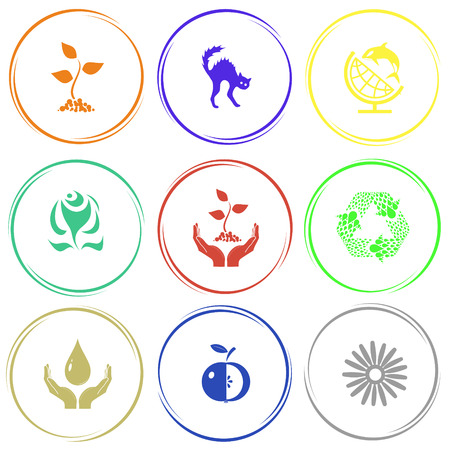 sprout, cat, globe and shamoo, rose, plant in hands, recycle symbol, protection blood, apple, camomile. Nature set. Internet button. Vector icons. Illustration