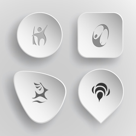 incurved: 4 images: abstract little man, skydiver, deer, bee. Abstract set. White concave buttons on gray background. Vector icons.