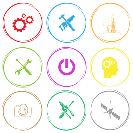 crescent wrench: gears, hand saw and hammer, thermal power engineering, screwdriver and spanner, switch element, human brain, camera, screwdriver and combination pliers, spaceship. Tehnology set. Internet button. Vector icons. Illustration