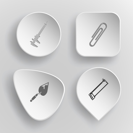 concave: 4 images: caliper, clip, trowel, hacksaw. Angularly set. White concave buttons on gray background. Vector icons. Illustration