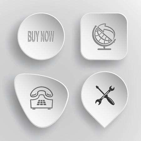 concave: 4 images: buy now, globe and arrow, push-button telephone, screwdriver and spanner. Business set. White concave buttons on gray background. Vector icons.