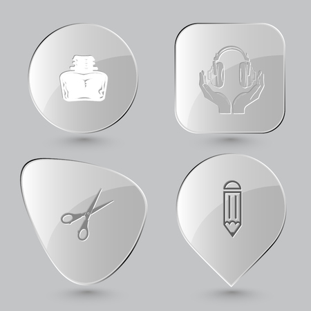 inkstand: inkstand, headphones in hands, scissors, pencil. Education set. Glass buttons on gray background. Vector icons.