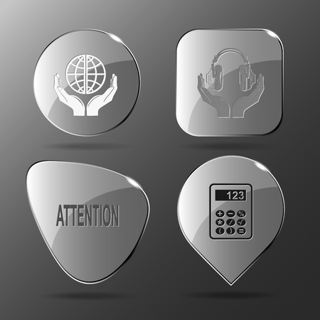 hearing protection: 4 images: protection world, headphones in hands, attention, calculator. Education set. Glass buttons. Vector illustration icon.