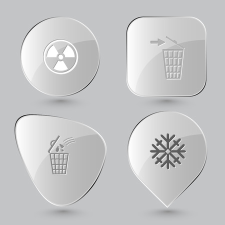 radiation symbol: radiation symbol, recycling bin, snowflake. Nature set. Glass buttons on gray background. Vector icons. Illustration