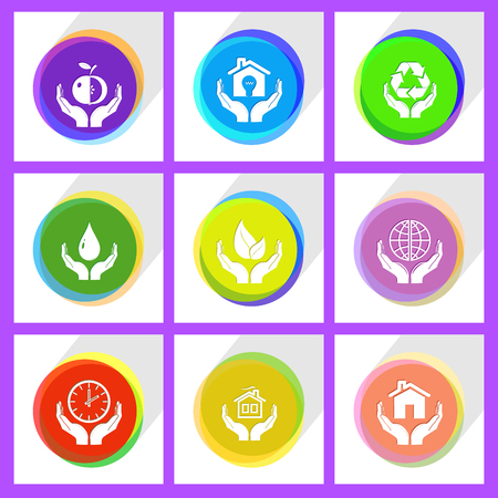 flue: clock in hands, protection blood, apple in hands, home in hands, life in hands, economy in hands, protection world, protection nature. In hands set. Internet template. Vector icons. Illustration