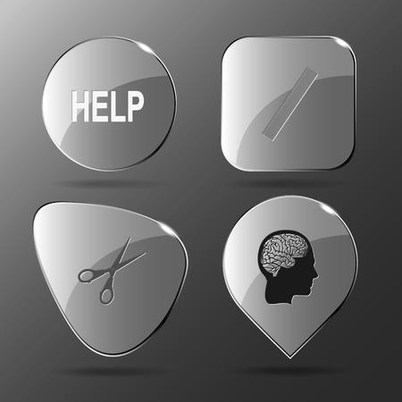 profile measurement: 4 images: help, ruler, scissors, human brain. Education set. Glass buttons. Vector illustration icon. Illustration