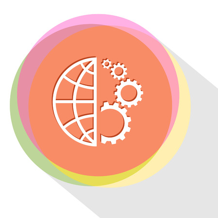 pinion: globe and gears. Internet template. Vector icon.