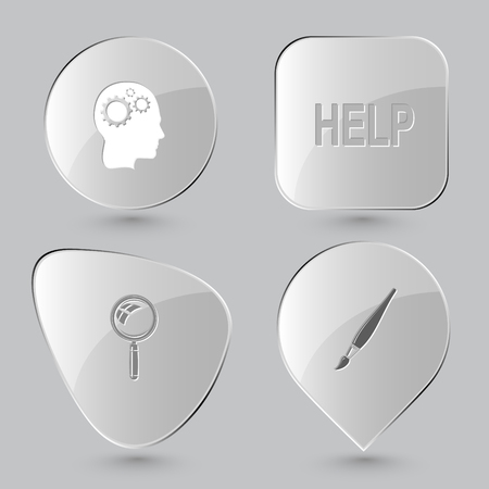 education help: human brain, help, magnifying glass, brush. Education set. Glass buttons on gray background. Vector icons.