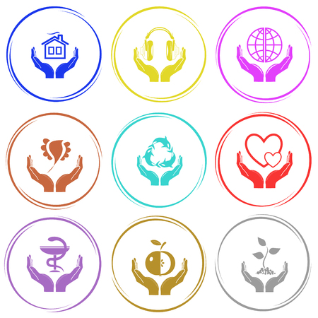 pharma: home in hands, headphones in hands, protection world, bird in hands, protection sea life, love in hands, pharma symbol in hands, apple in hands, plant in hands. In hands set. Internet button. Vector icons. Illustration