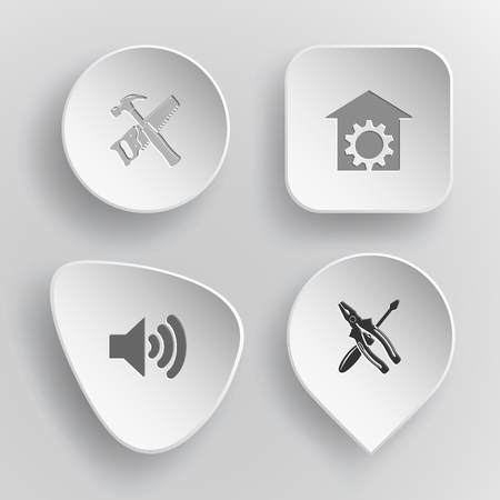 concave: 4 images: hand saw and hammer, repair shop, loudspeaker, screwdriver and combination pliers. Tehnology set. White concave buttons on gray background. Vector icons.