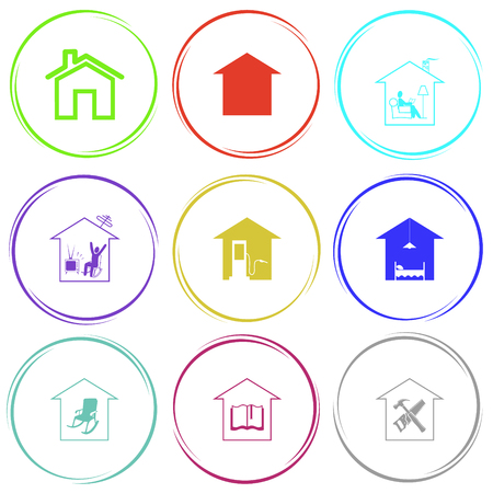 home, home reading, home watching TV, car fueling, hotel, home comfort, library, workshop. Home set. Internet button. Vector icons.