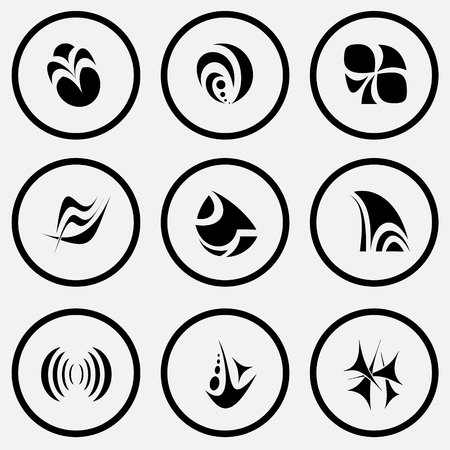 unicoloured: 9 images of unique abstract forms. Black and white set vector icons.