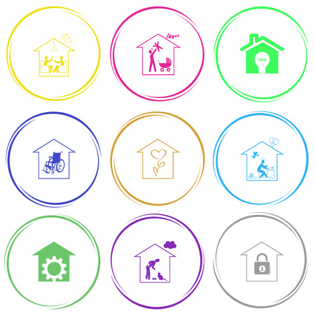 'nursing home': home celebration, family home, light in home, nursing home, flower shop, home inspiration, repair shop, home cat, bank. Home set. Internet button. Vector icons.