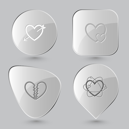 spall: heart and arrow, careful heart, unrequited love, atomic heart. Heart shape set. Glass buttons on gray background. Vector icons.