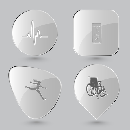 invalid: cardiogram, glass with tablets, jumping girl, invalid chair. Medical set. Glass buttons on gray background. Vector icons.