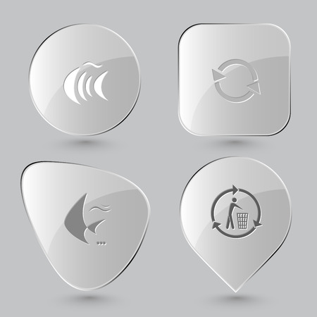 spawn: fish, recycle symbol, recycling bin. Nature set. Glass buttons on gray background. Vector icons. Illustration
