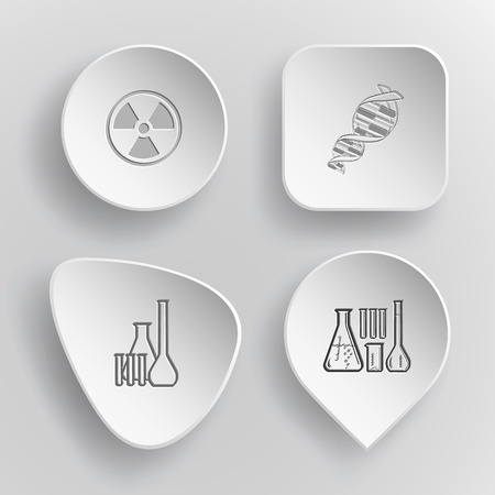 incurved: 4 images: radiation symbol, dna, chemical test tubes. Science set. White concave buttons on gray background. Vector icons.