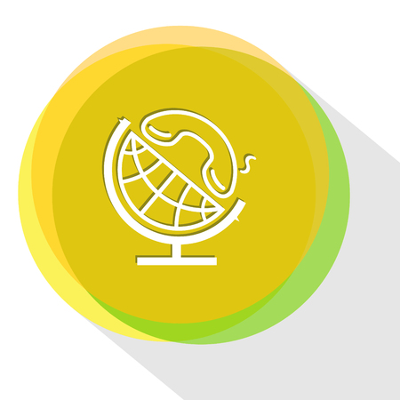 handset: globe and handset. Internet template. Vector icon.