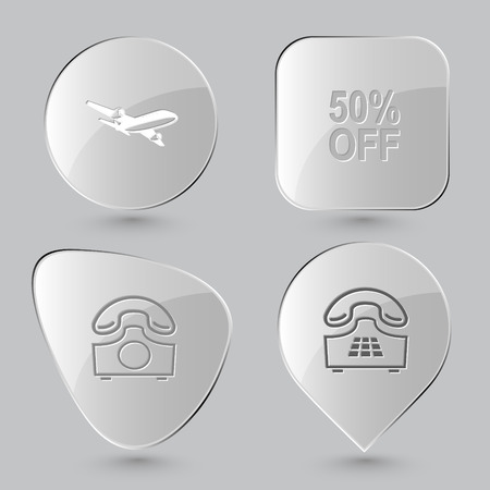 airliner: airliner, 50% OFF, rotary phone, push-button telephone. Business set. Glass buttons on gray background. Vector icons.
