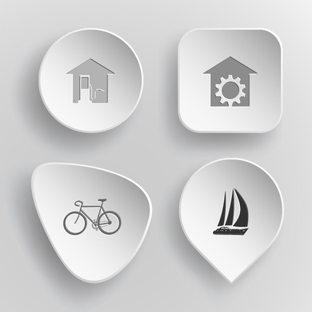 incurved: 4 images: car fueling, repair shop, bicycle, yacht. Transport set. White concave buttons on gray background. Vector icons.