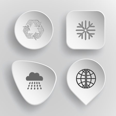 incurved: 4 images: recycle symbol, snowflake, rain, globe. Weather set. White concave buttons on gray background. Vector icons.