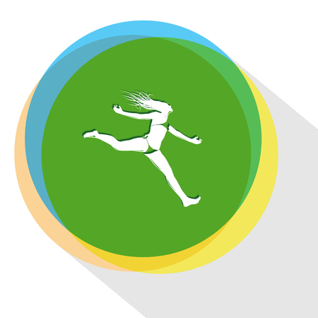 jumping girl: jumping girl. Internet template. Vector icon.