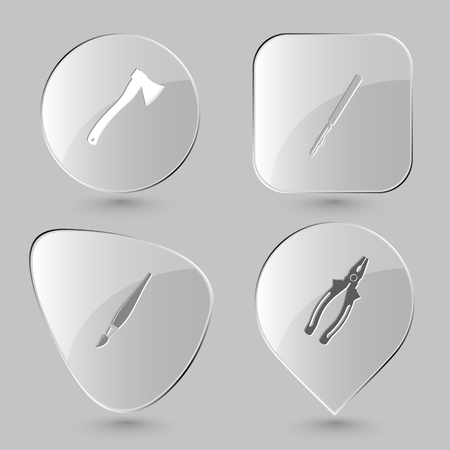 ruling: axe, ruling pen, brush, pliers. Angularly set. Glass buttons on gray background. Vector icons.