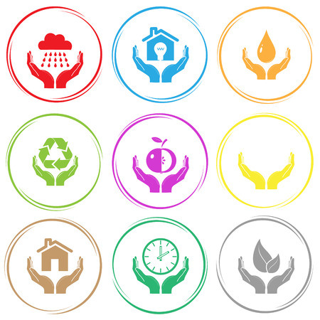 weather in hands, economy in hands, protection blood, protection nature, apple in hands, human hands, home in hands, clock in hands, life in hands. In hands set. Internet button. Vector icons.