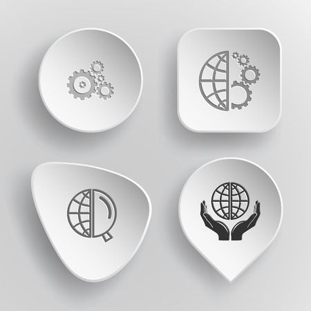 concave: 4 images: gears, globe and gears, globe and magnifying glass, protection world. Science set. White concave buttons on gray background. Vector icons. Illustration