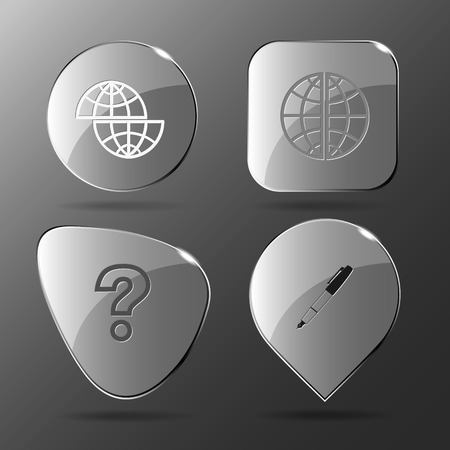 query: 4 images: shift globe, globe, query sign, ink pen and pencil. Education set. Glass buttons. Vector illustration icon.