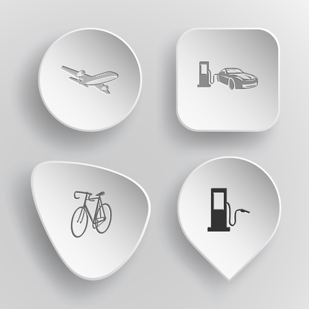 incurved: 4 images: airliner, car fueling, bicycle, fueling station. Transport set. White concave buttons on gray background. Vector icons. Illustration