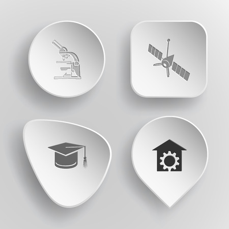 incurved: 4 images: lab microscope, spaceship, graduation cap, repair shop. Science set. White concave buttons on gray background. Vector icons. Illustration