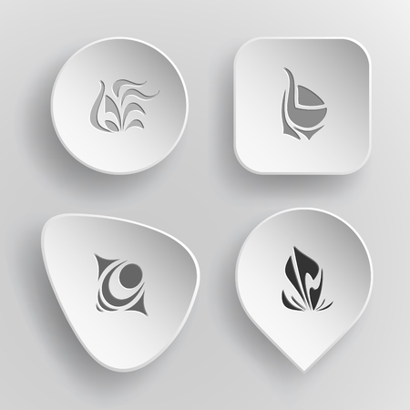 4 images of unique abstract forms. White concave buttons on gray background. Vector icons set. Illustration