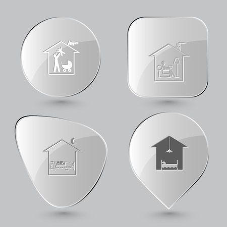 hotel bedroom: family home, home reading, home bedroom, hotel. Home set. Glass buttons on gray background. Vector icons.